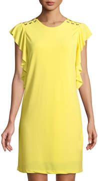 Dex Butterfly-Sleeve Lace-Shoulder Shift Dress