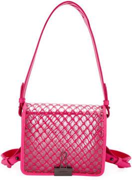 Off-White PVC Net Flap Crossbody Bag, Fuchsia