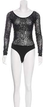 DKNY Embellished Long Sleeve Bodysuit