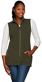 Denim & Co. Zip Front Fleece Vest with Pockets
