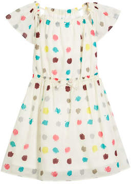 Burberry Maria Dot-Print Drawstring-Waist Dress, Size 4-14
