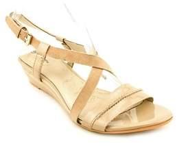 Giani Bernini Liora Women Open Toe Patent Leather Brown Wedge Sandal.