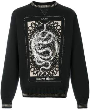 Roberto Cavalli snake print ribbed sweatshirt