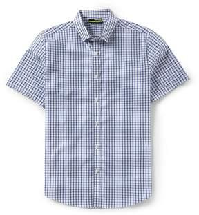 Murano Slim-Fit Grid Check Performance Short-Sleeve Woven Shirt