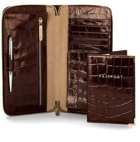 Aspinal of London Zipped Travel Wallet With Passport Cover In Deep Shine Amazon Brown Croc Stone Suede