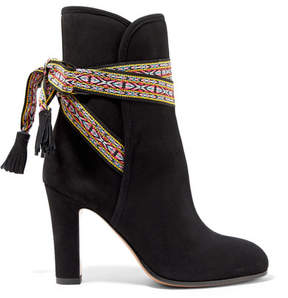 Etro Jacquard-trimmed Suede Ankle Boots - Black