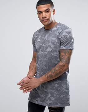 New Look Longline Camo T-Shirt In Gray