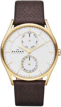 Skagen Men's Dark Brown Leather Strap Watch 40mm SKW6066