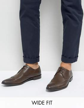 Frank Wright Wing Tip Brogue Shoes In Brown Leather