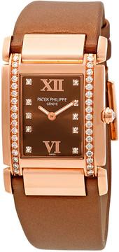 Patek Philippe Twenty 4 Diamond Brown Dial Rose Gold Ladies Watch