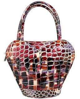 Fontanelli Multi-color Stamped Italian Leather Handbag