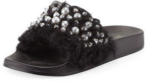 Neiman Marcus Embellished Furry Slide Flat Sandal, Black