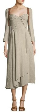 Brock Collection Devin Corseted Long-Sleeve Linen Dress w/ Full Skirt
