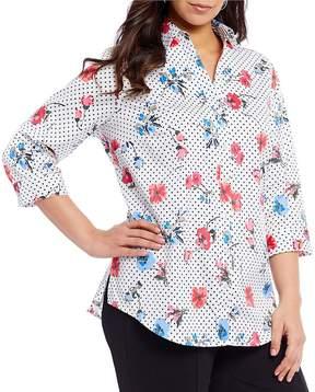 Allison Daley Plus 3/4 Sleeve Floral Dot Print Button Front Shirt