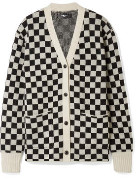 Amiri Checked Cashmere And Wool-blend Cardigan - Black
