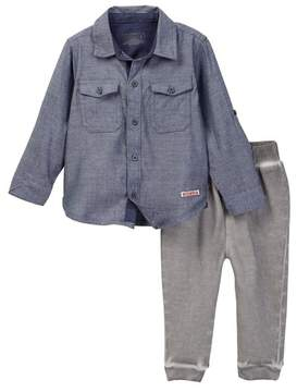 Hudson Woven Chambray Button Down Shirt & Jogger Set - 2-Piece Set (Baby Boys)