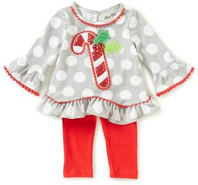 Rare Editions Baby Girls Newborn-24 Months Christmas Candy Cane Top & Leggings Set