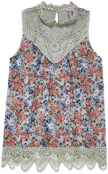 Knitworks Knit Works High Neck Lace Tank Top with Necklace - Girls' 7-16