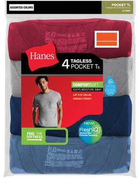 Hanes Big Men's Dyed Crew Pocket T-Shirts 3XL, 4 Pack