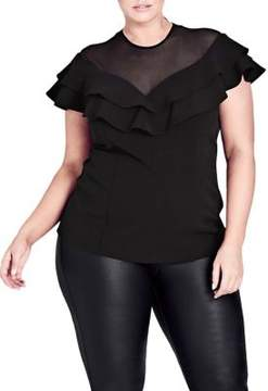 City Chic Plus Sheer Frill Top