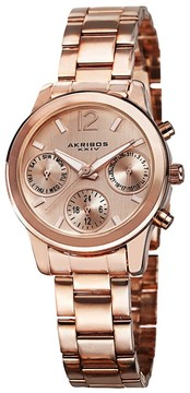 Akribos XXIV Multi-Function Rose Dial Rose Gold-tone Alloy Ladies Watch