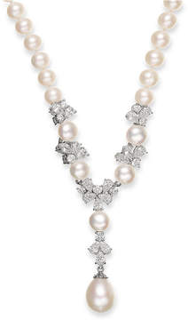 Arabella Cultured Freshwater Pearl (7-12mm) and Swarovski Zirconia Y-Shaped Necklace in Sterling Silver