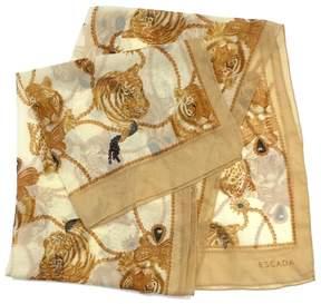 Escada Beige Tiger & Leopard Print Silk Scarf