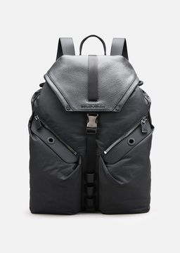 Emporio Armani tumbled leather and nylon backpack