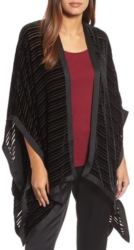 Eileen Fisher Women's Velvet Stripe Burnout Poncho Wrap