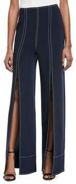 Cinq à Sept Magdalena Wide-Leg Slit-Front Pants with Topstitching
