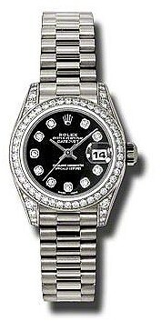 Rolex Lady-Datejust 26 Black Dial 18K White Gold President Automatic Ladies Watch