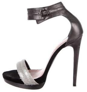Barbara Bui Snakeskin-Trimmed Ankle Strap Sandals