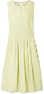 Mansur Gavriel Pleated Silk And Cotton-blend Midi Dress - Pastel yellow