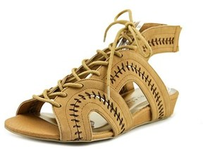 Very Volatile Rapport Women Open Toe Synthetic Tan Wedge Sandal.