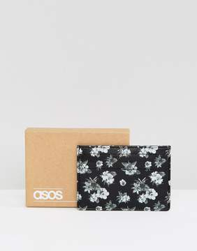 Asos Leather Card Holder In Monochrome Floral Design
