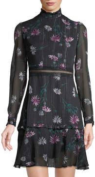 Donna Morgan Mock-Neck Long-Sleeve Floral Dress