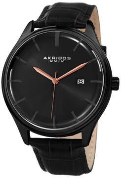 Akribos XXIV Mens Black Strap Watch-A-914bk