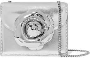 Oscar de la Renta Tro Mini Embellished Metallic Textured-leather Shoulder Bag - Silver