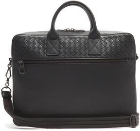 Bottega Veneta Intrecciato-woven panel leather briefcase