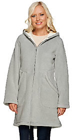 Denim & Co. As Is Long Sleeve Fleece Jacket with Hood