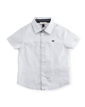Armani Junior Short-Sleeve Printed Stretch Poplin Shirt, Gray, Size 6-36 Months