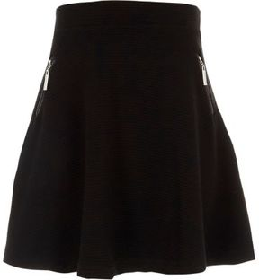 River Island Girls black side zip ribbed skater skirt
