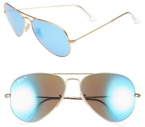 Ray-Ban Women's Standard Icons 58Mm Mirrored Polarized Aviator Sunglasses - Gold/ Blue Mirror