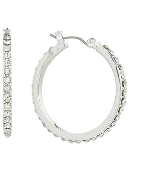 Chaps Silver Tone Simulated Crystal Hoop Earrings