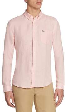 Lacoste Long Sleeve Solid Linen Shirt