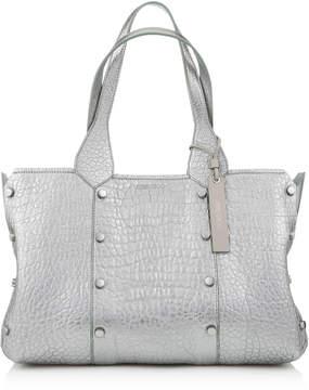 Jimmy Choo LOCKETT SHOPPER/S Platinum Metallic Grainy Leather Tote Bag