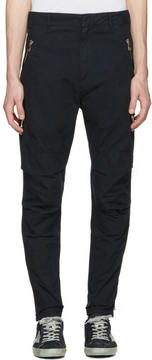 Balmain Navy Zip Cargo Trousers