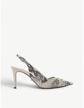 Dune Cheska snake-embossed kitten heels