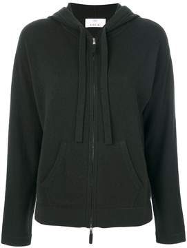 Allude zipped knit hoodie