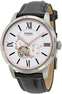 Fossil Townsman White Dial Black Leather Men's Watch